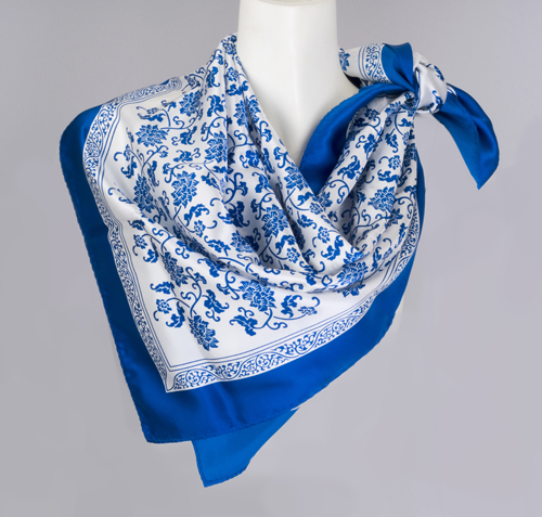 Blue And White Silk Scarf Chinese Accessories Women Scarves
