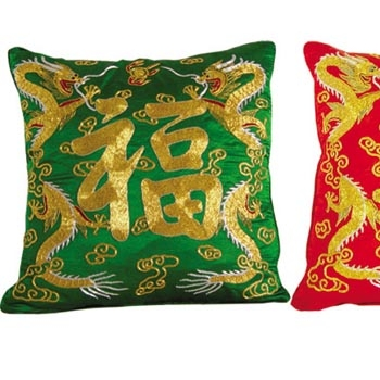 Embroidered pillow cases good luck and longevity home for Good luck home decor