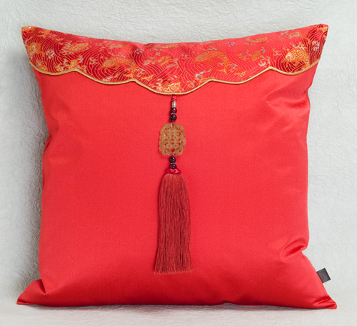 Silk Cushion Cover With Jade Tassel