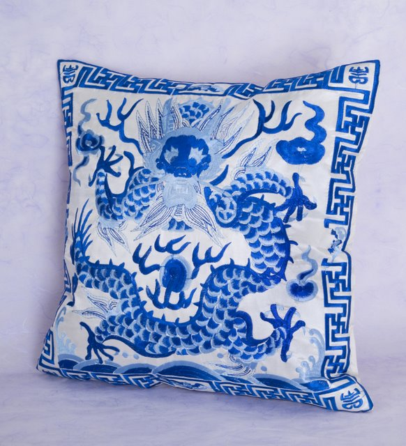 Spring Home Decor 2019: Embroidered Dragon Pillow Covers