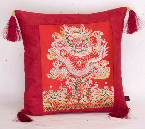 Silk Dragon/Phoenix Cushion Cover With Tassel