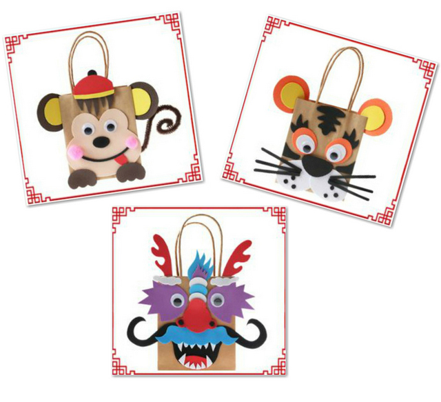 Make Your Own Chinese New Year Cartoon Paper Bag Arts
