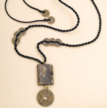 Chinese coin and stone necklace chinese accessories jewelry jade click mozeypictures Choice Image