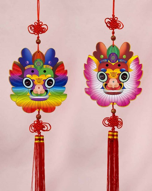 Wooden Dragon Hanging Arts Crafts Chinese New Year