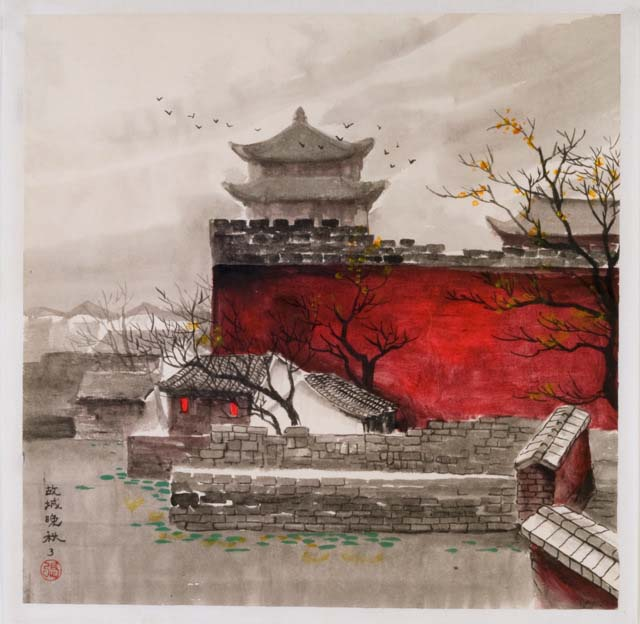 watercolor painting hutong and the gate home d233cor