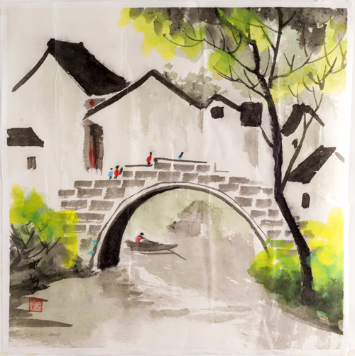 Watercolor Painting Rural Village Home Decor Paintings