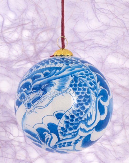 Hand Painted Glass Ornament Blue Dragon Home Décor Christmas