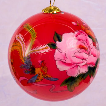 Hand painted glass ornaments peony and phoenix home for Phoenix glass decorating co