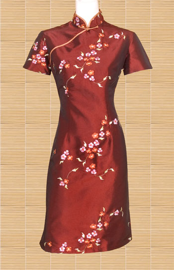Embroidered Blossom Flower Mandarin Dress Chinese