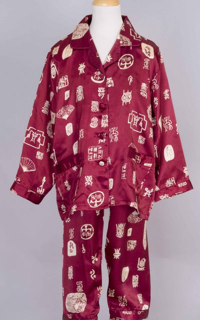 Chinese Calligraphy Silk Pajama Chinese Apparel Kids